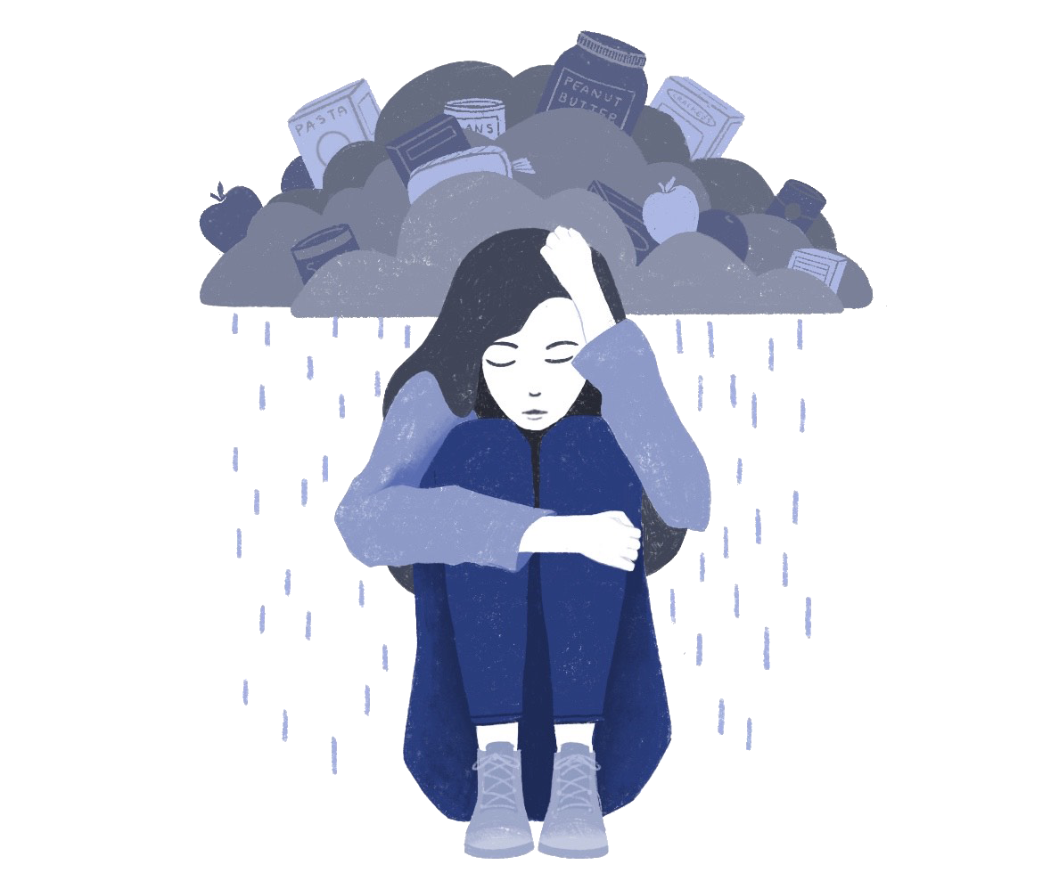 Illustration of a student with a rain cloud over their head