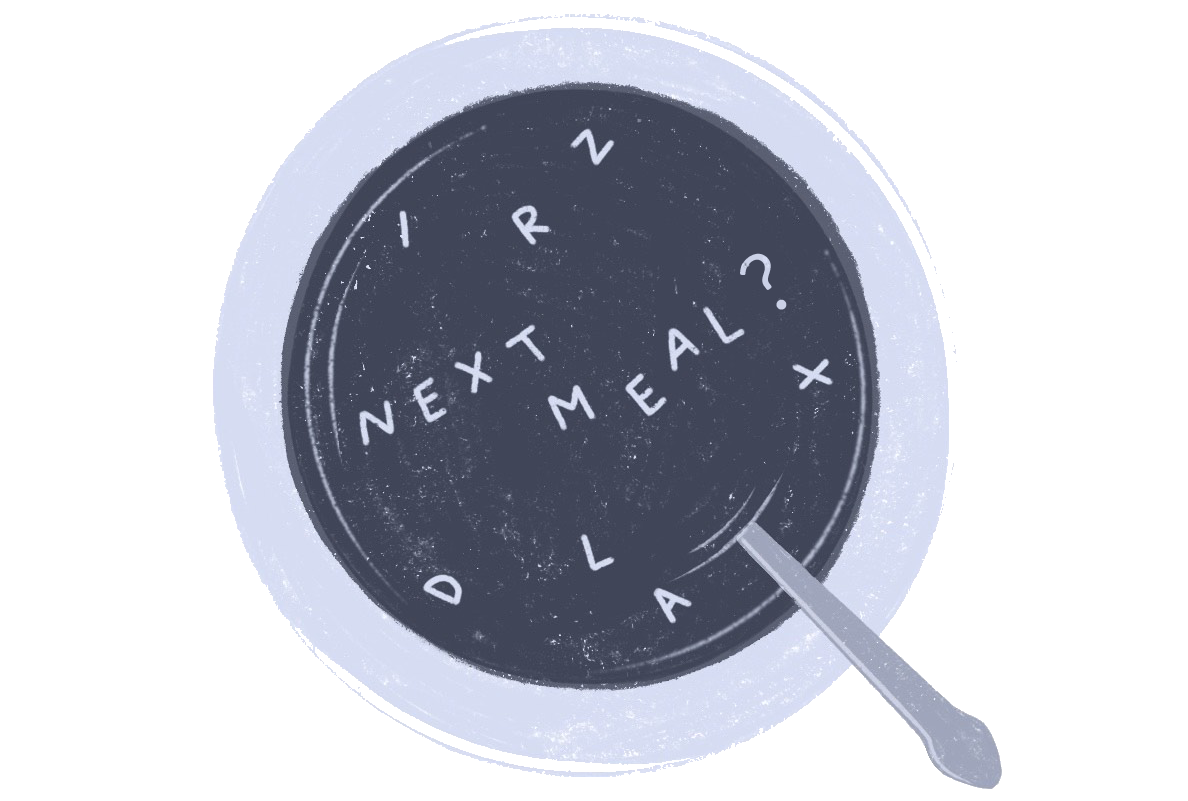 Illustration of a bowl of soup that says 'next meal'