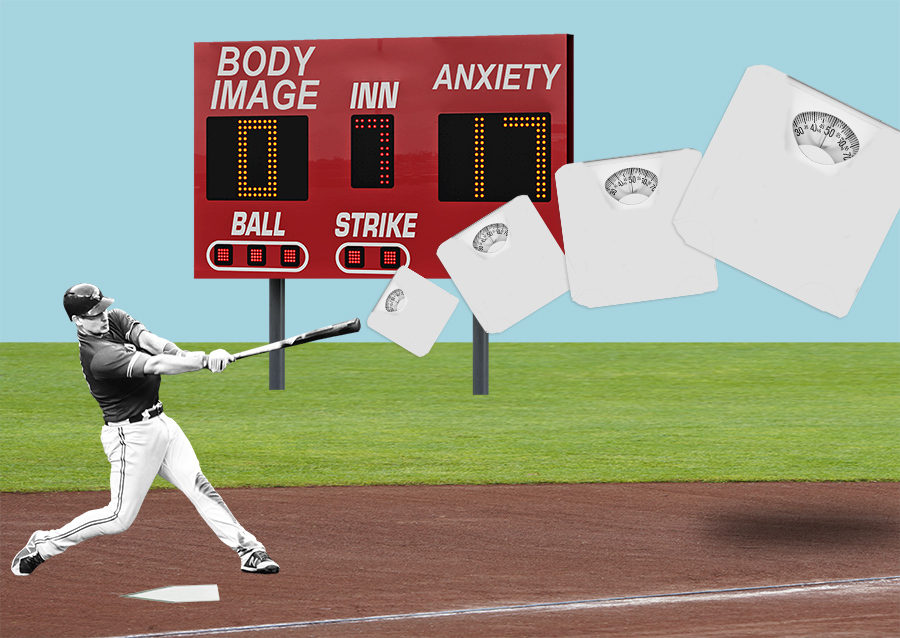 illustration of a baseball player hitting a scale
