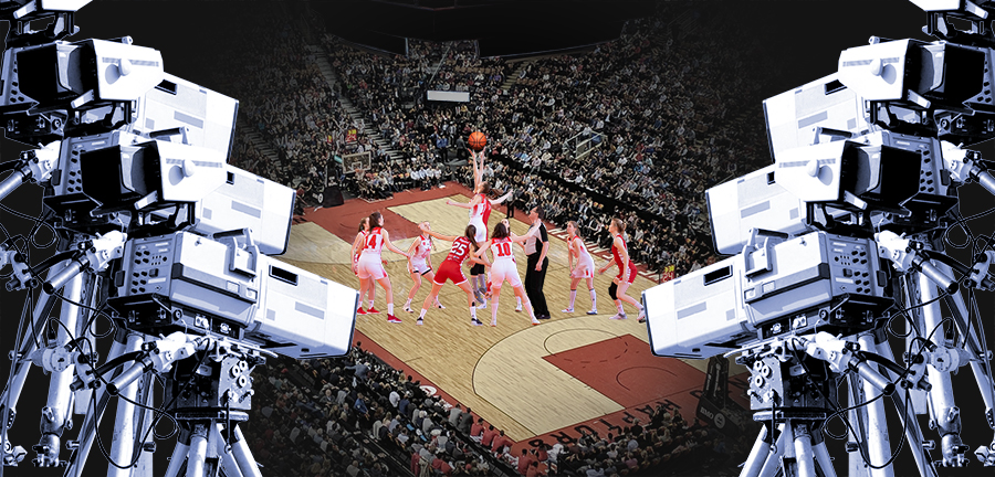 illustration of tv cameras pointing as women's basketball game