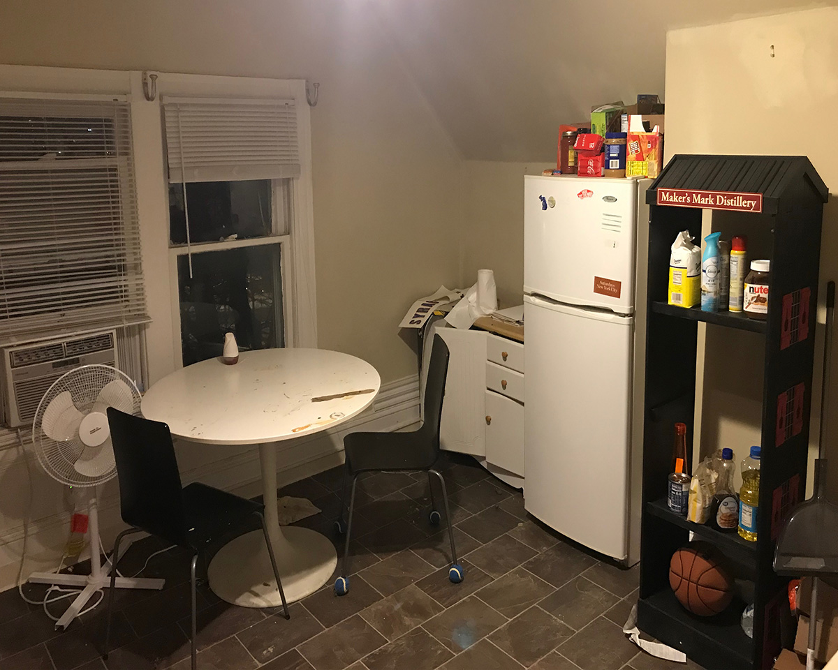 kitchen with low ceilings